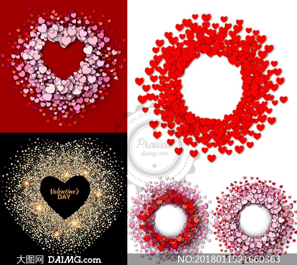 矢量图设计素材创意设计节日素材情人节圆形圆环环形金色心形桃心爱心