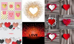 木板纹理与心形情人节主题矢量素材