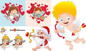 射箭的爱神与圣诞老人创意矢量素材