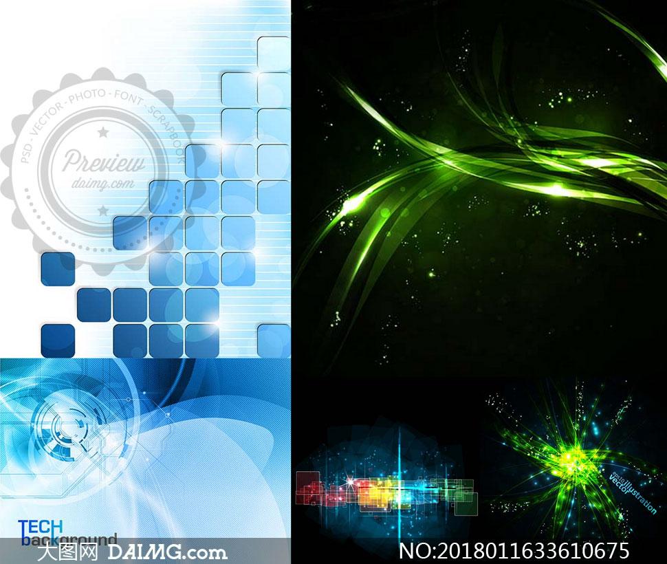 光效曲线元素创意背景设计矢量素材图片