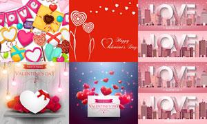 玫瑰花蝴蝶结与心形情人节矢量素材