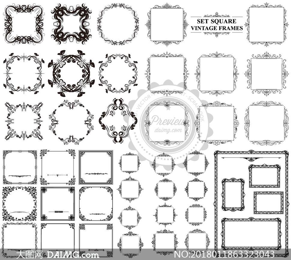 复古怀旧风格黑白边框设计矢量素材