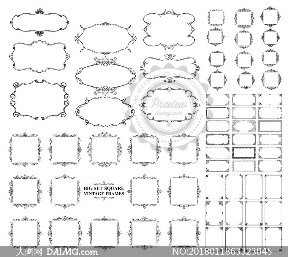 黑白效果古典风的边框设计矢量素材