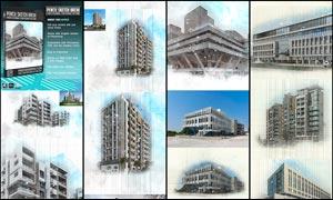建筑照片转手绘草图效果PS动作