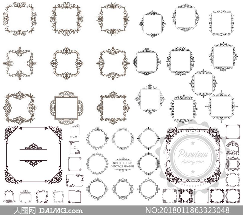 圆形边框与装饰分隔线创意矢量素材