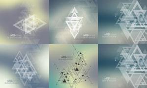 三角形与点线组合抽象背景矢量素材