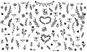 黑白效果花花草草装饰元素矢量素材