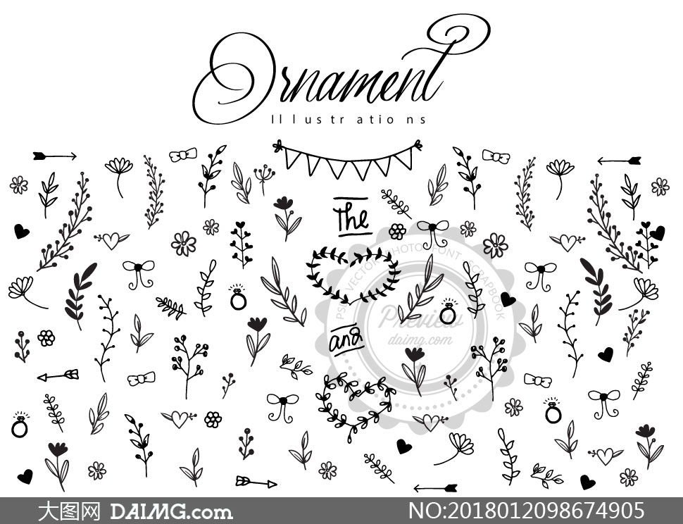 素材创意设计手绘涂鸦小花小草花草心形桃心箭头黑白边框植物三角旗