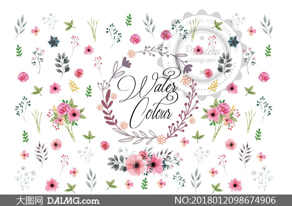 素材创意设计手绘花草鲜花花朵花卉植物边框树枝小花小草水彩装饰图案