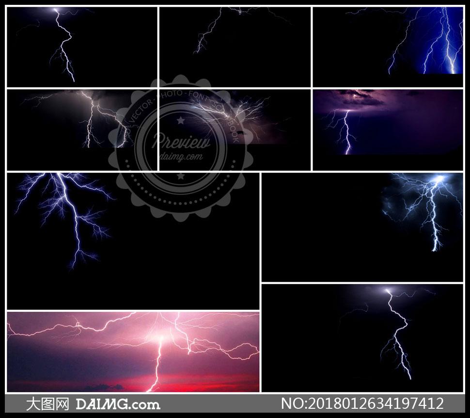 天空中出现的闪电溶图创意高清图片