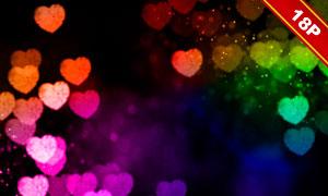 浪漫炫丽效果桃心光斑图案高清图片