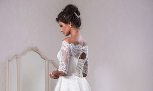 盘头装束婚纱美女人物摄影高清图片