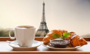 牛角包果酱与咖啡特写摄影高清图片