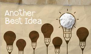 灯泡与揉成团的纸创意设计高清图片