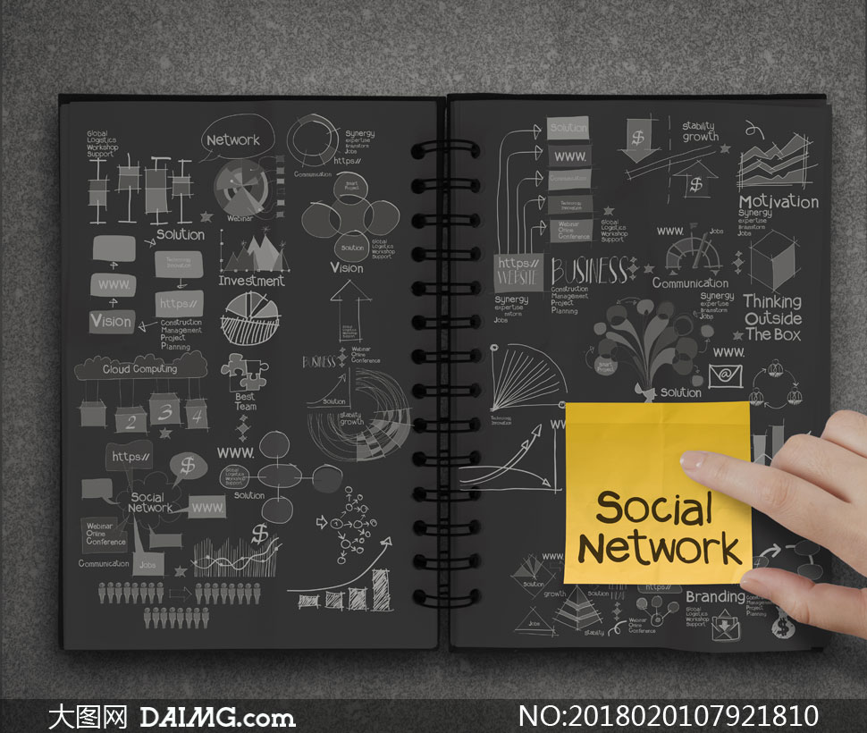 创意商务手势手绘涂鸦脑图思维导图数据分析数据图表统计图表箭头曲线