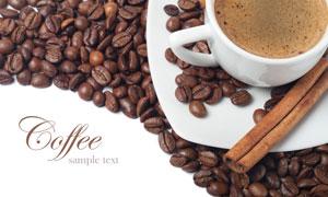 咖啡豆与一快桂皮特写摄影高清图片