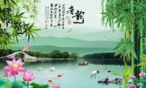 中国风唐韵背景墙设计PSD源文件