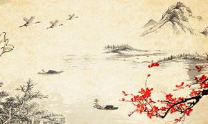 中国风古典山水画背景PSD源文件