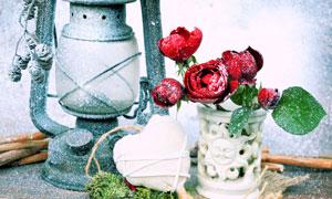 马灯心形与红色的花朵摄影高清图片