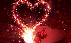 礼物盒中迸发出的星光桃心创意图片