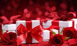 光斑与丝带包装的礼物摄影高清图片