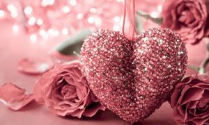 粉色的玫瑰花与装饰品摄影高清图片