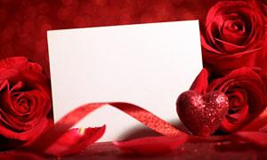 红色玫瑰花与空白卡片摄影高清图片