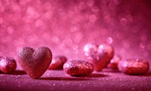 梦幻光斑与亮粉装饰的桃心高清图片