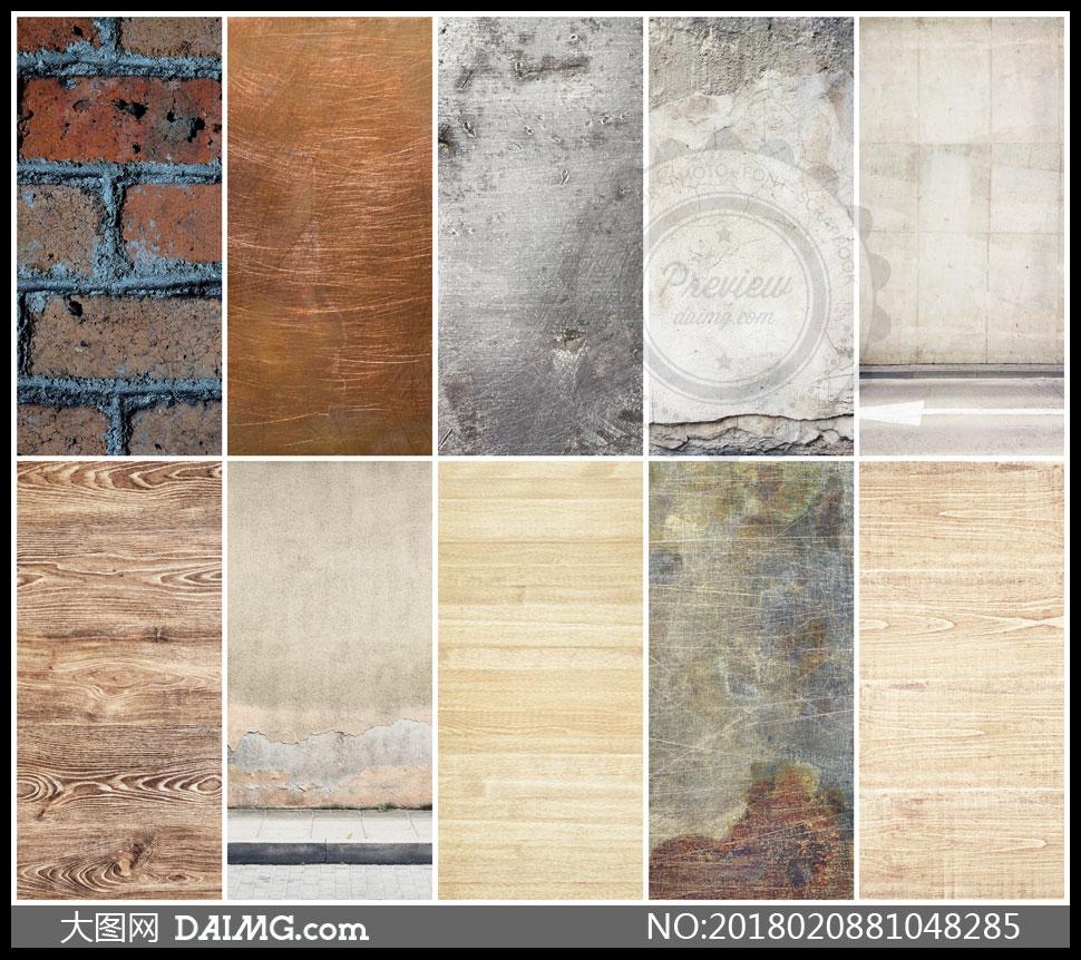 墙壁木板与刮痕效果等纹理高清图片 - 大图网设计素材