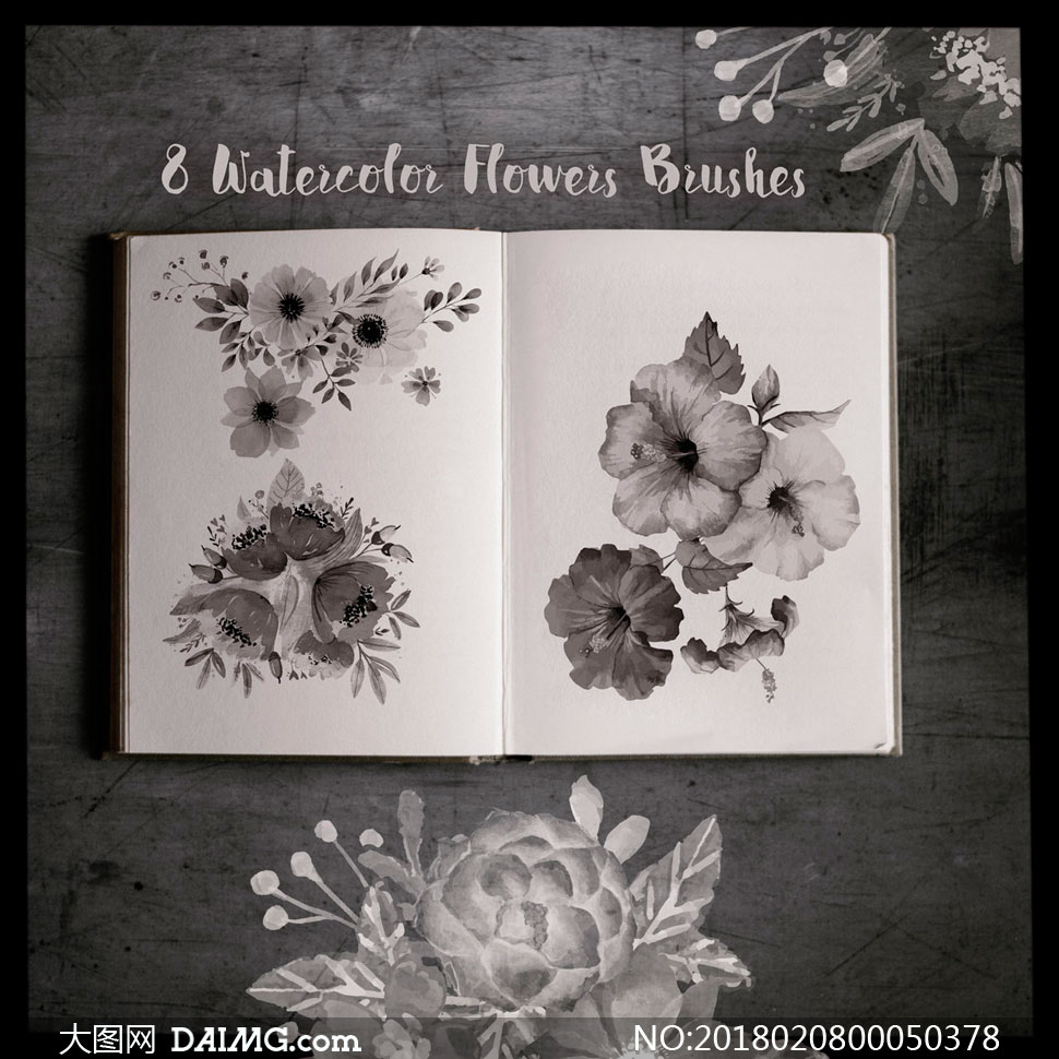 8款水彩花朵和花卉装饰PS笔刷