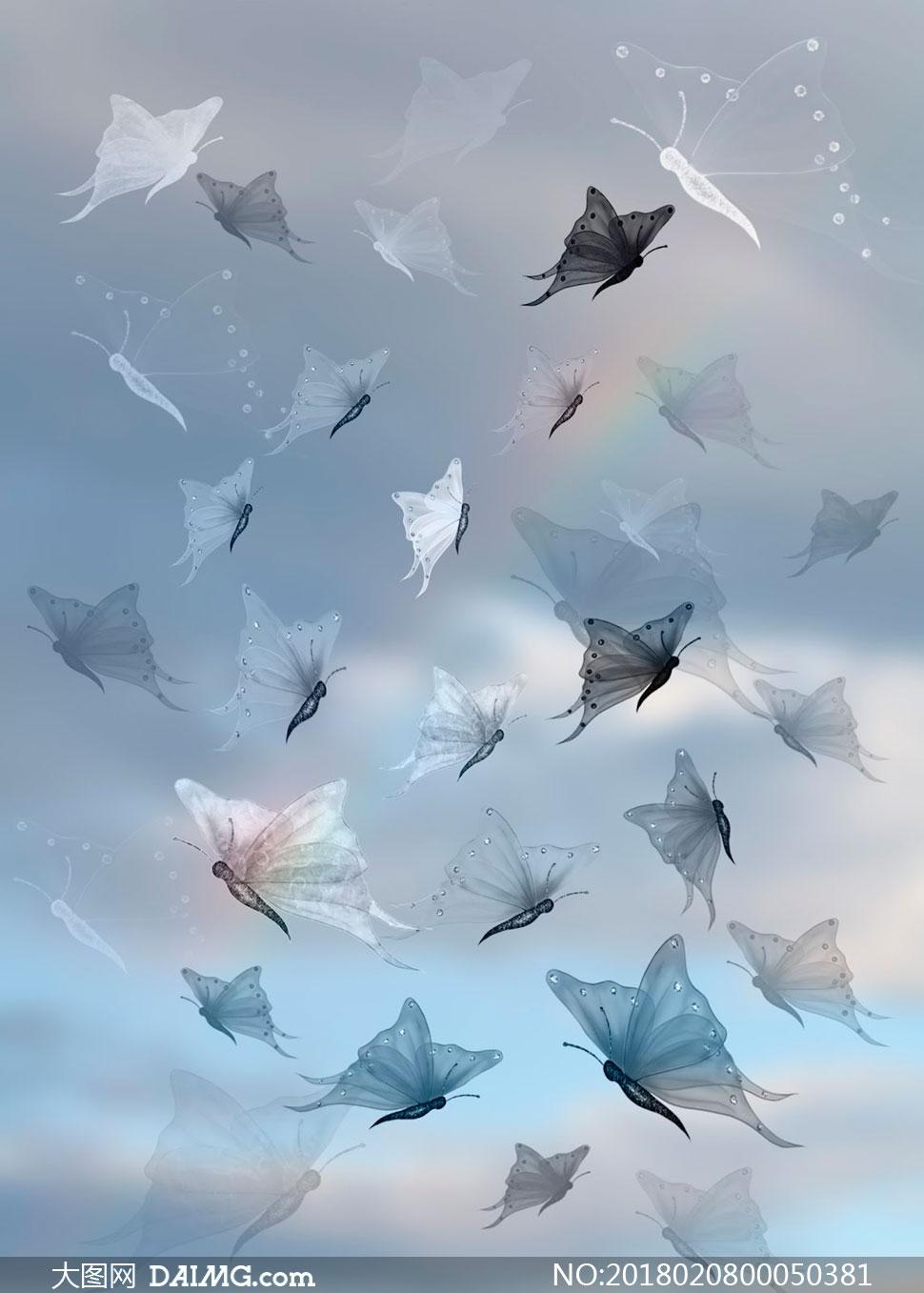 9款翩翩飞舞的蝴蝶笔刷