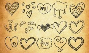 情人节手绘心形装饰PS笔刷