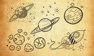 宇宙星系和陨石群PS笔刷