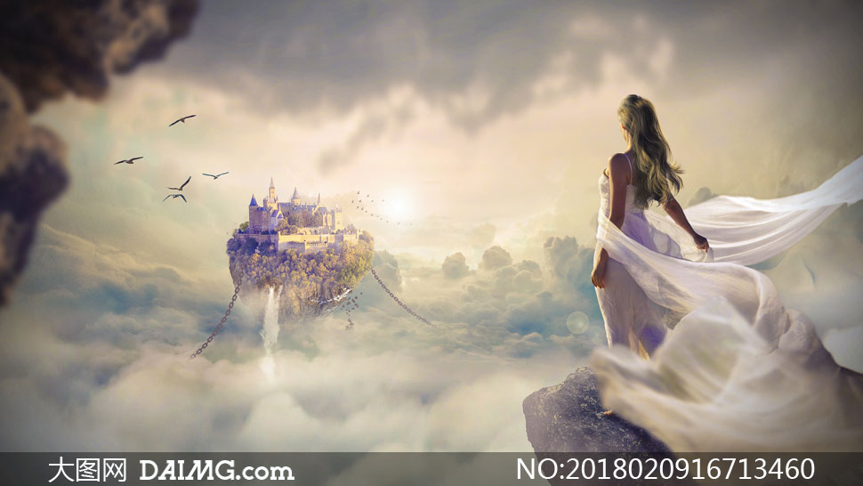 长裙美女与悬浮山创意设计高清图片