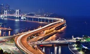 跨海大桥繁华夜景风光摄影高清图片