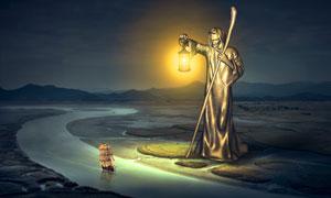 在照亮航路的金人雕塑创意高清图片