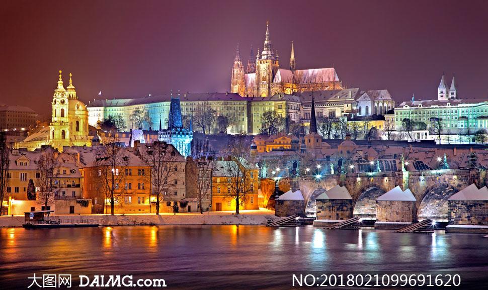 夜晚布拉格的美景风光摄影高清图片