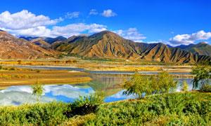 西藏高原美丽景观全景摄影图片