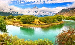 高原湖泊中美丽小岛摄影图片