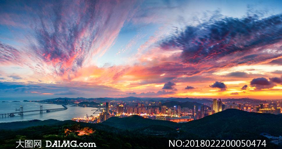 城市夕阳和美丽夜景摄影图片