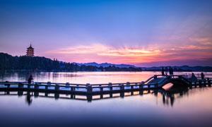 西湖美丽夜景摄影图片