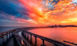 跨海大桥夕阳美景摄影图片