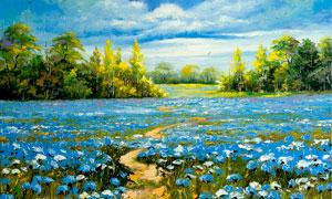 花园美丽风景油画摄影图片