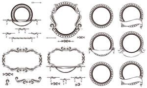 复古风格黑白花纹边框设计矢量素材