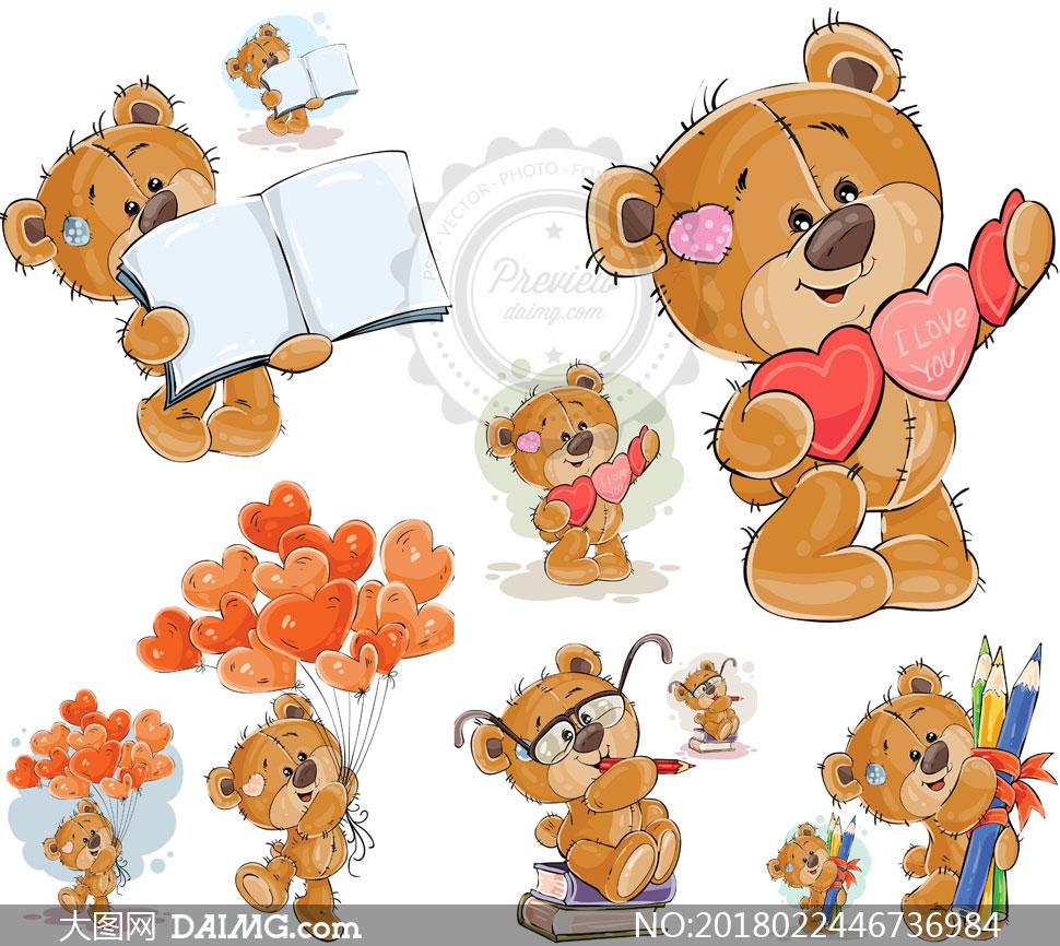 扯着气球的可爱小熊等创意矢量素材