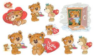 可爱卡通小熊与桃心等创意矢量素材