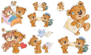 卡通风格可爱小熊创意设计矢量素材