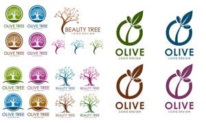 缤纷多彩的橄榄树标志创意矢量素材