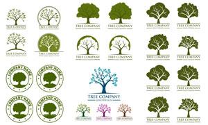 不同形态树木元素标志创意矢量素材