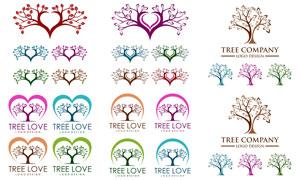 炫彩风格树木元素标志创意矢量素材
